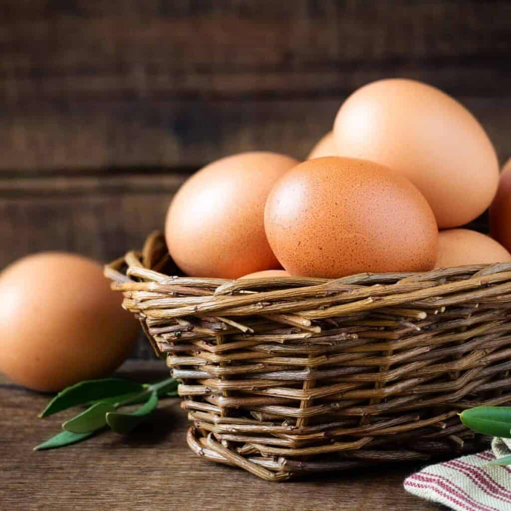 basket of farm fresh eggs