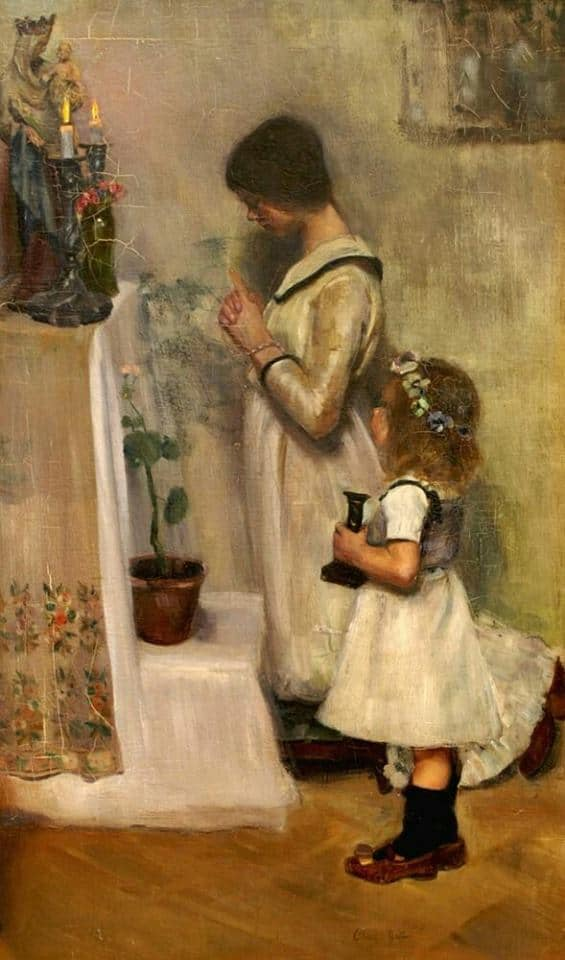 "painting of the """"Young Adoration"" by Cornelia Elizabeth Gallas"