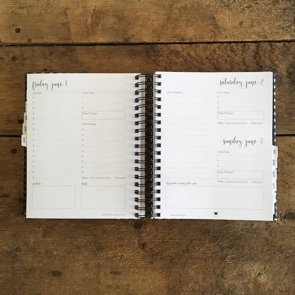 image of a planner opened up to a daily page
