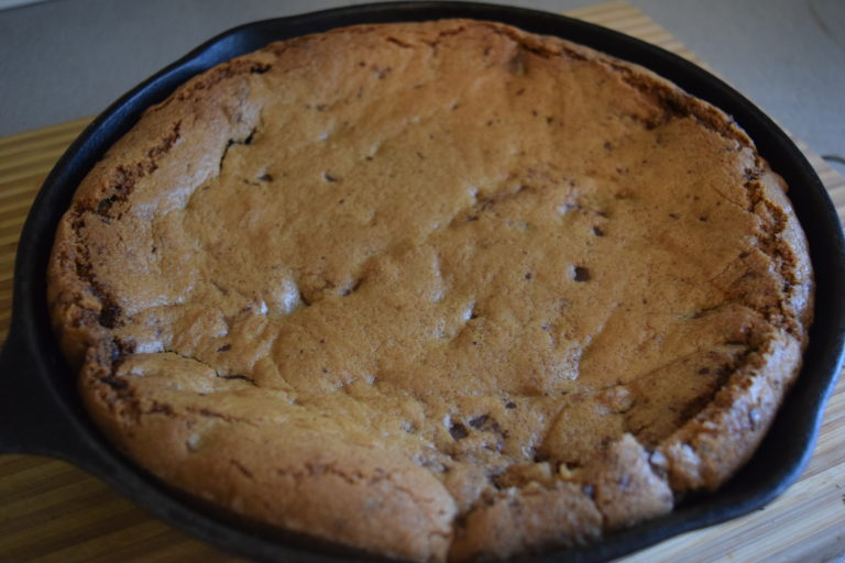 Chocolate & Peanut Butter Chip Cookie Recipe (made in a cast iron skillet)
