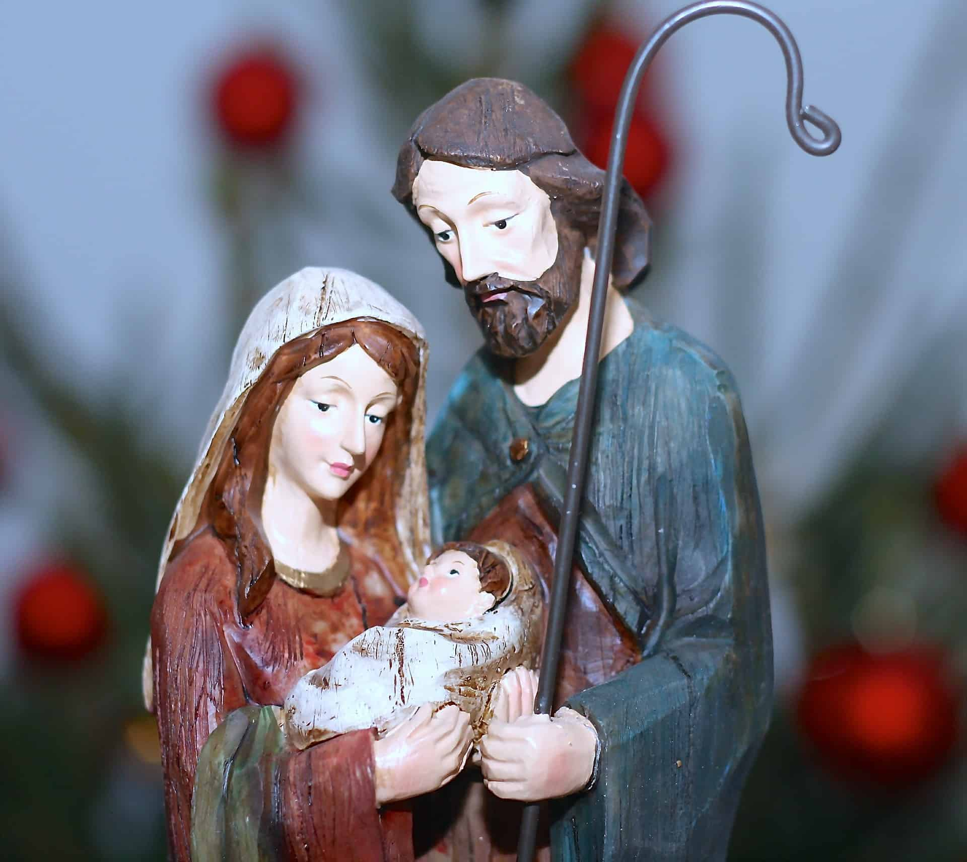 Baby Jesus, Mary, and St Joseph statue