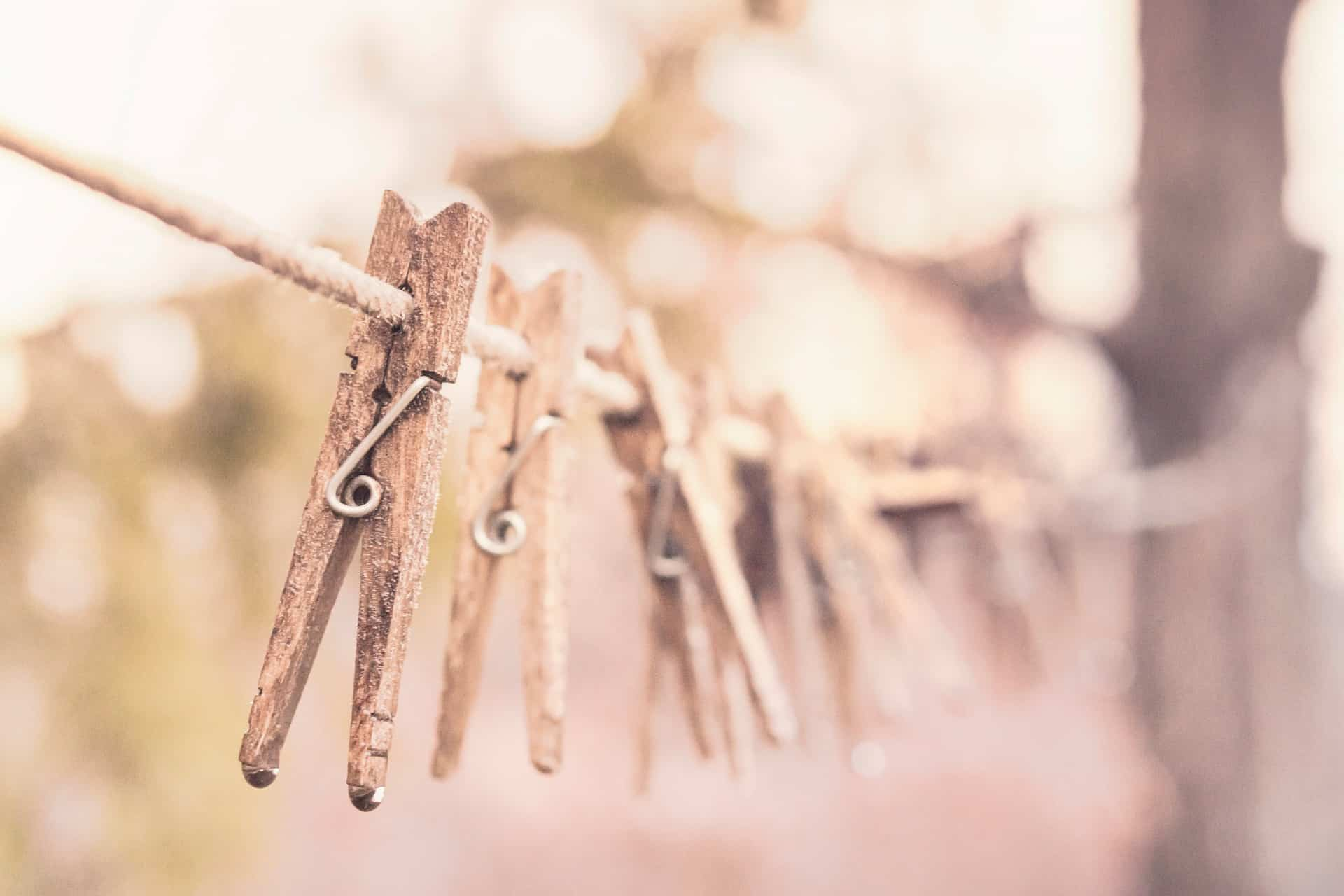 clothes pins on a clothesline