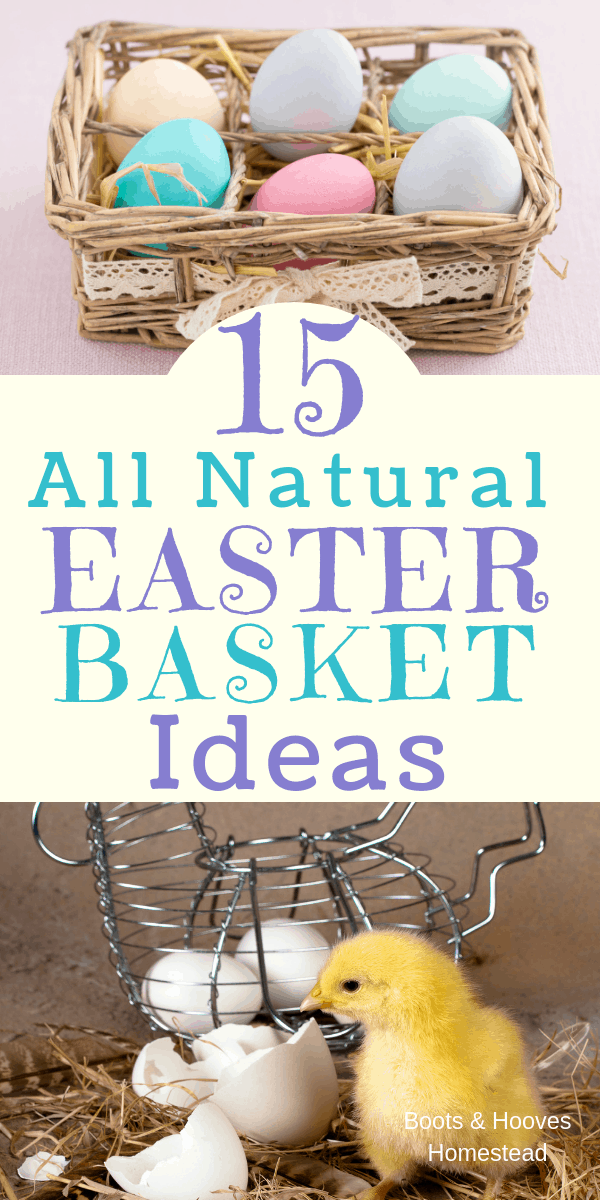 Easter Baskets with dyed eggs