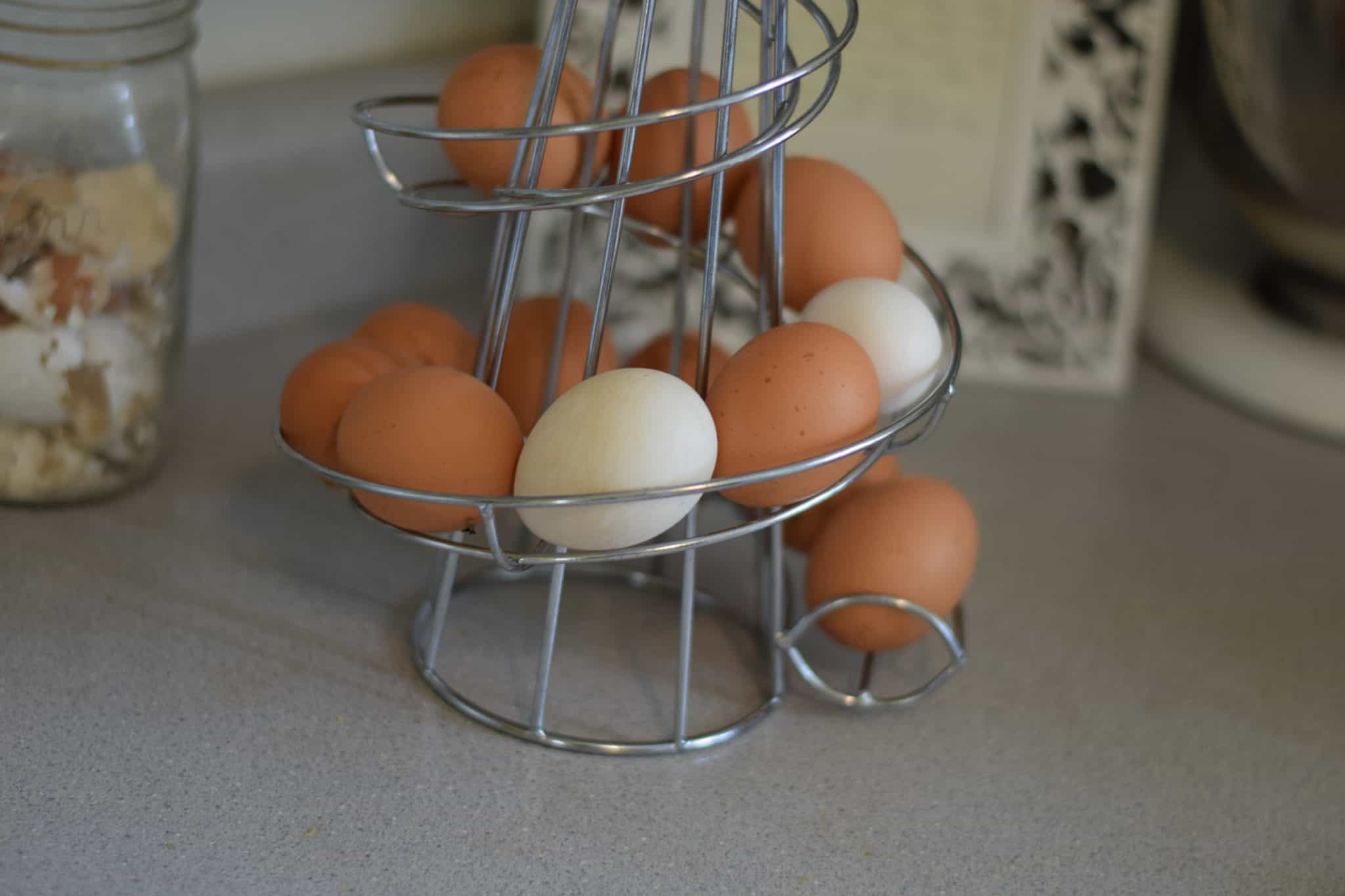 eggs stored in an egg skelter on a counter top