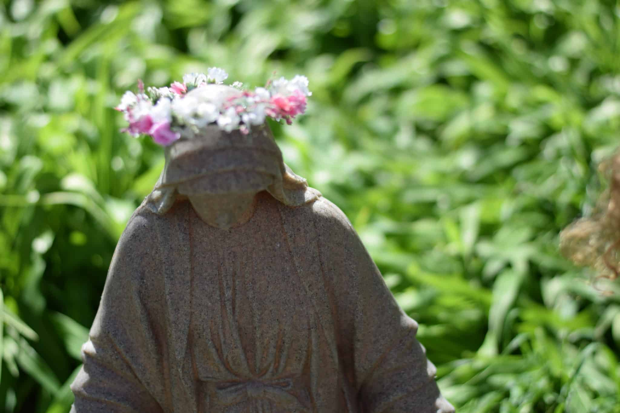outdoor Mary statue with flower crown