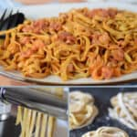 photo collage of three images of cooked pasta, rolling pasta dough, and the finished homemade pasta