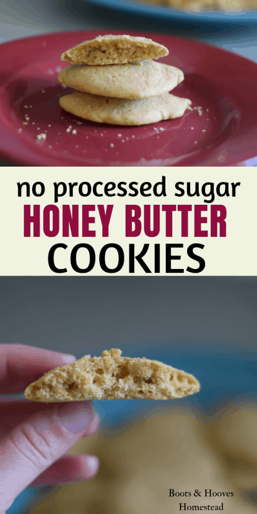 photo collage of two images, one of a plate of honey butter cookies and the other of a close up image of a single cookie