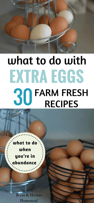 overabundance of chicken eggs in wire baskets