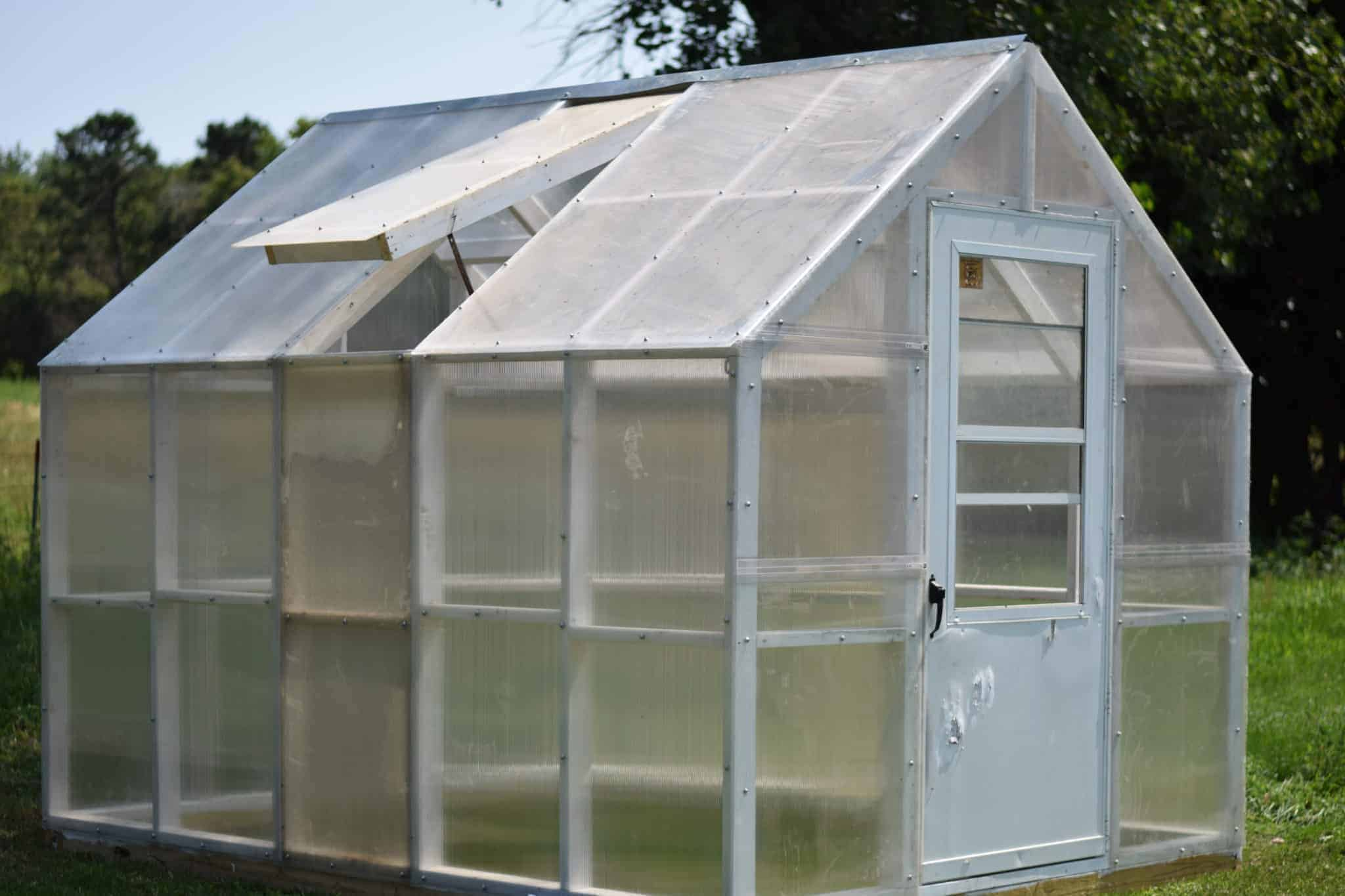 Finished greenhouse outside in the garden with one vent opened on side of roof.