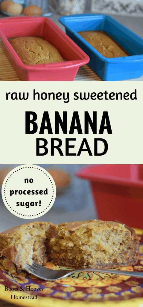 raw honey sweetened banana bread recipe. no processed sugar!