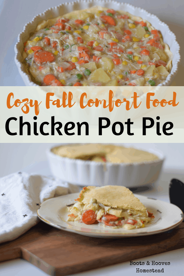 photo collage of two images of a homemade chicken pot pie in a white pie dish