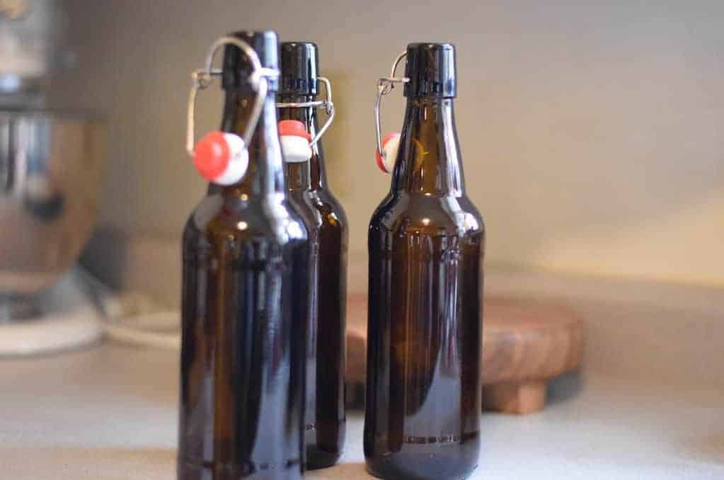 bottles of homemade soda aka water kefir