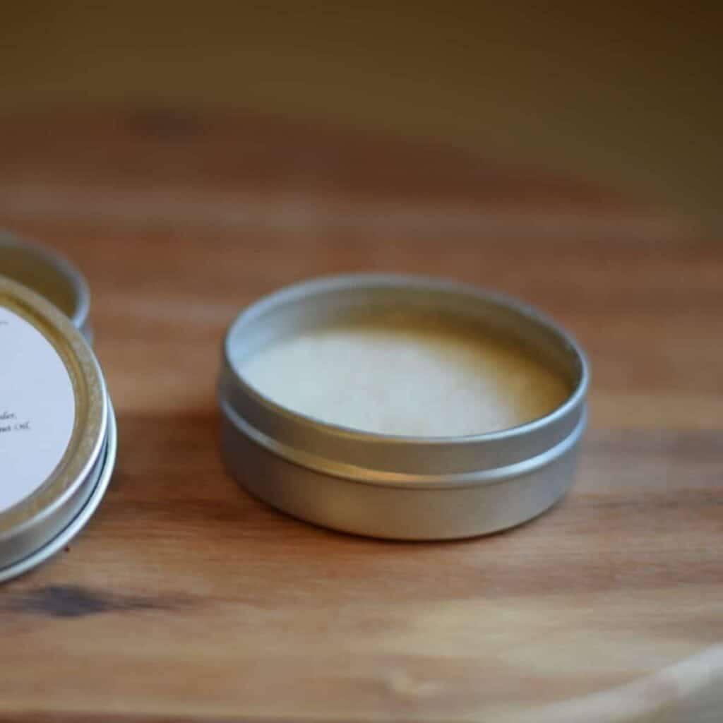 tins of homemade deodorant