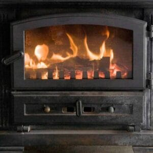 wood burning in a wood stove
