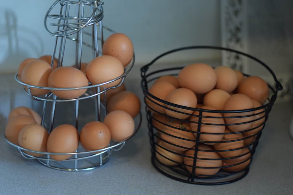 several brown eggs in a black basket and silver egg skelter sitting on a countertop