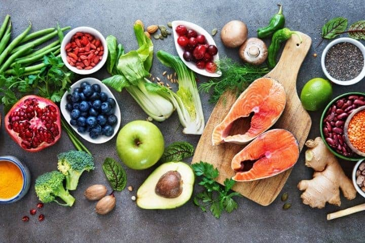 healthy food of fruits, vegetables, and seafood
