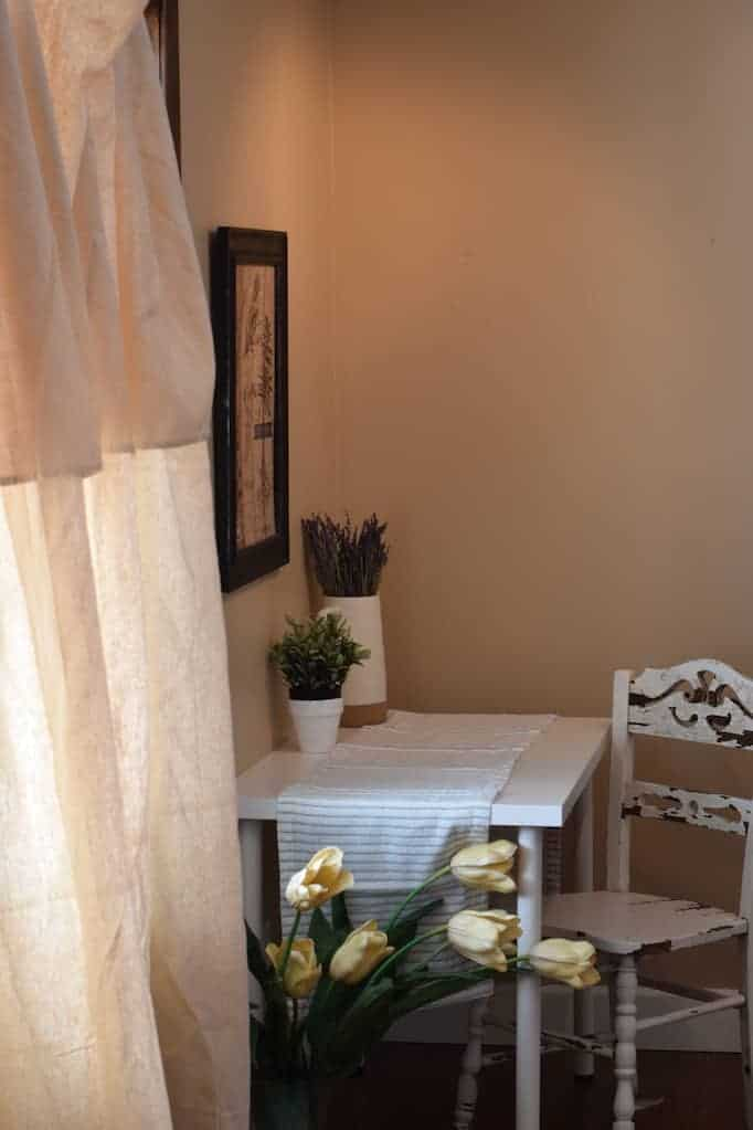 farmhouse curtains with desk and decor