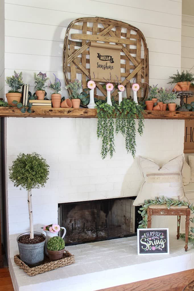 farmhouse mantel decor for spring