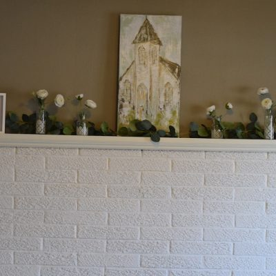 Decor for a Farmhouse Spring Mantel