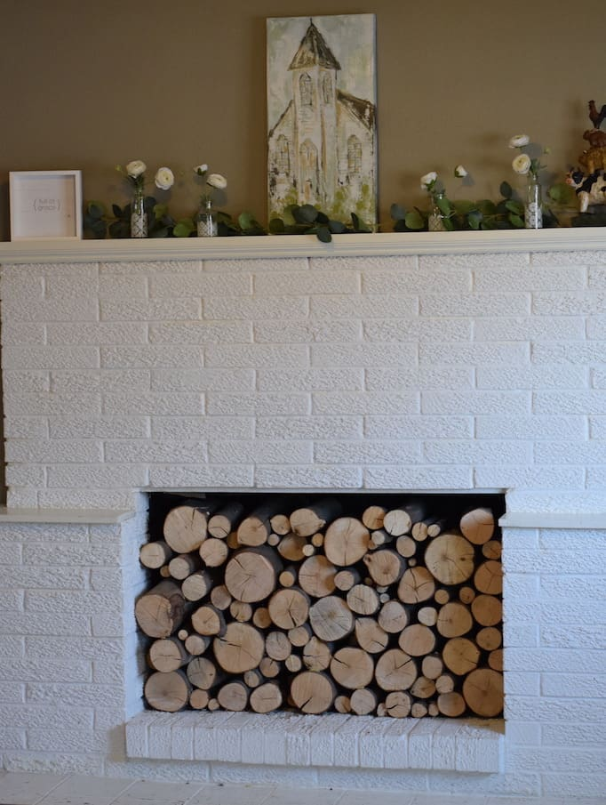 overview of the decor for the farmhouse spring mantel