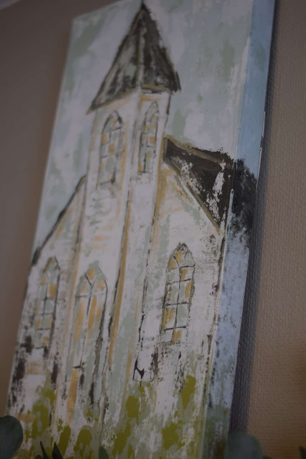 country church painting for farmhouse spring mantel