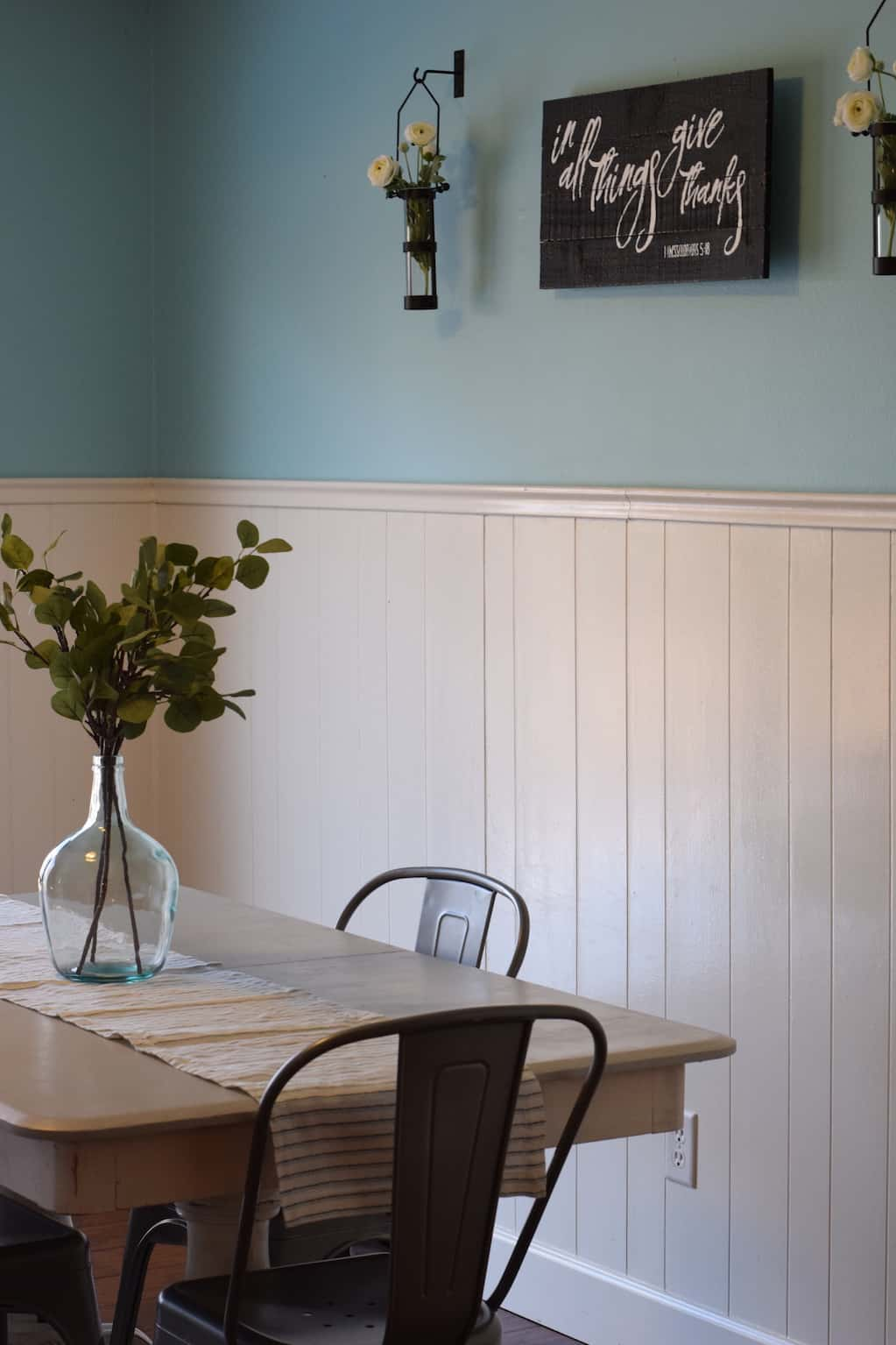 another view of the farmhouse dining room table