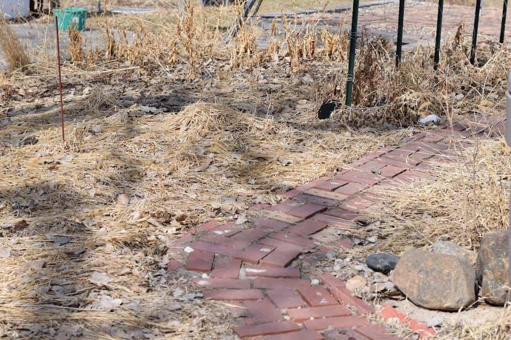 Potager garden design and brick walkway.