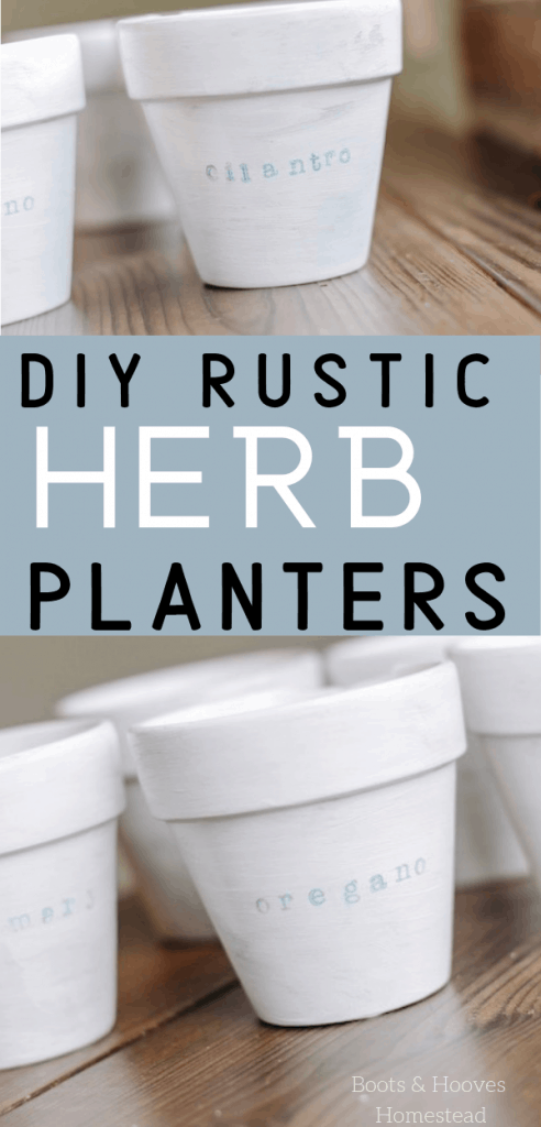 rustic painted herb planters