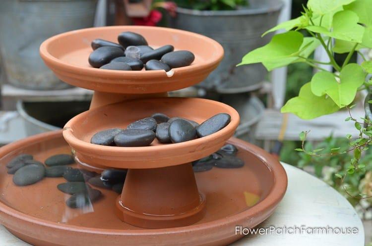 terra cotta pot water fountain