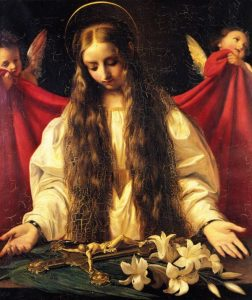 Image of St Philiomena with two angels on either side
