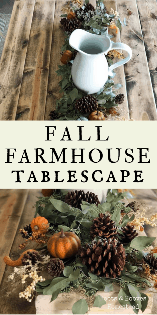 photo collage of two images of the fall tablescape