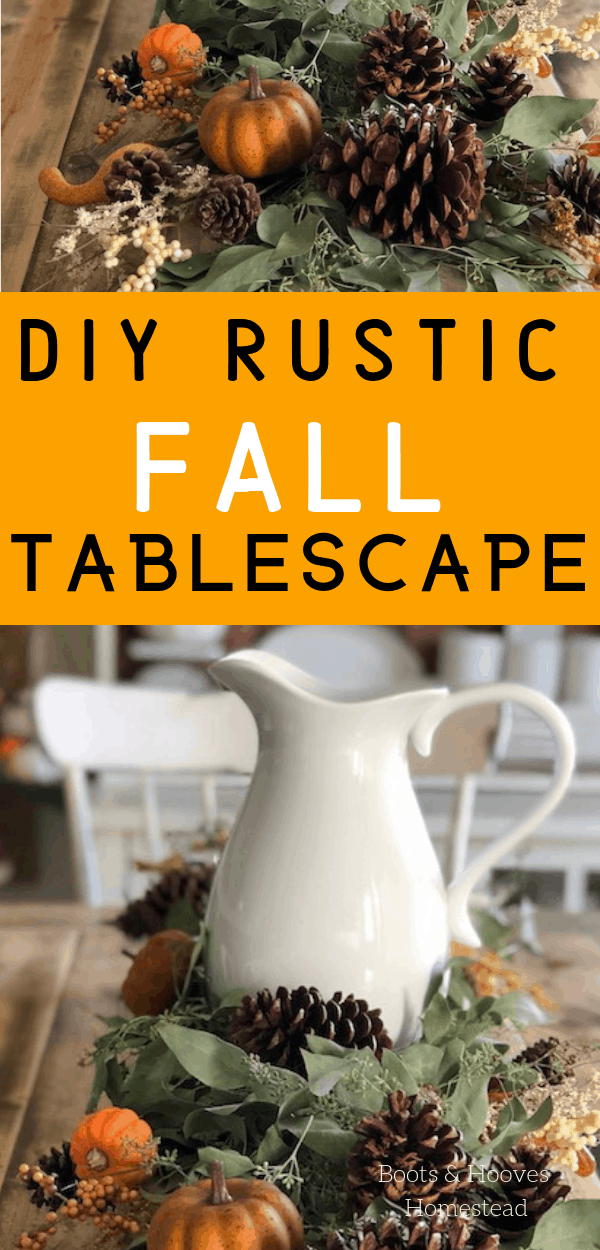 finished fall tablescape on farmhouse table