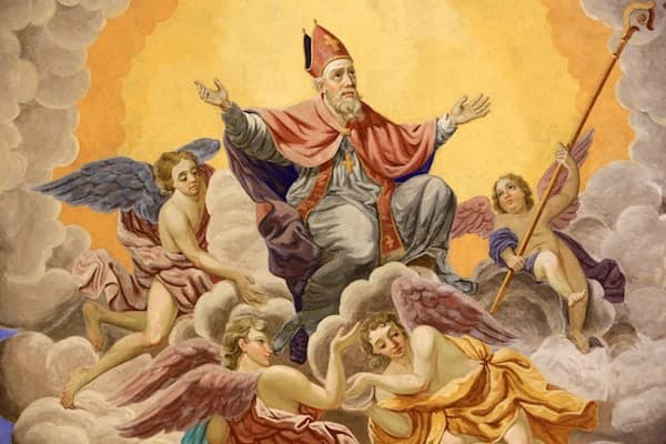 painting of St Nicholas with angels