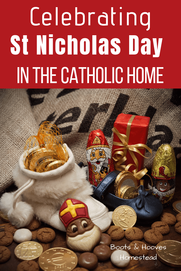 image of shoes and slippers filled with chocolate coins and other small candies to celebrate St Nicholas day.