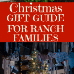 photo collage of two images. top image of a Christmas wreath on a barn door and bottom image of a Christmas tree with gifts under the tree. a Christmas gift guide for ranch families in text overlay