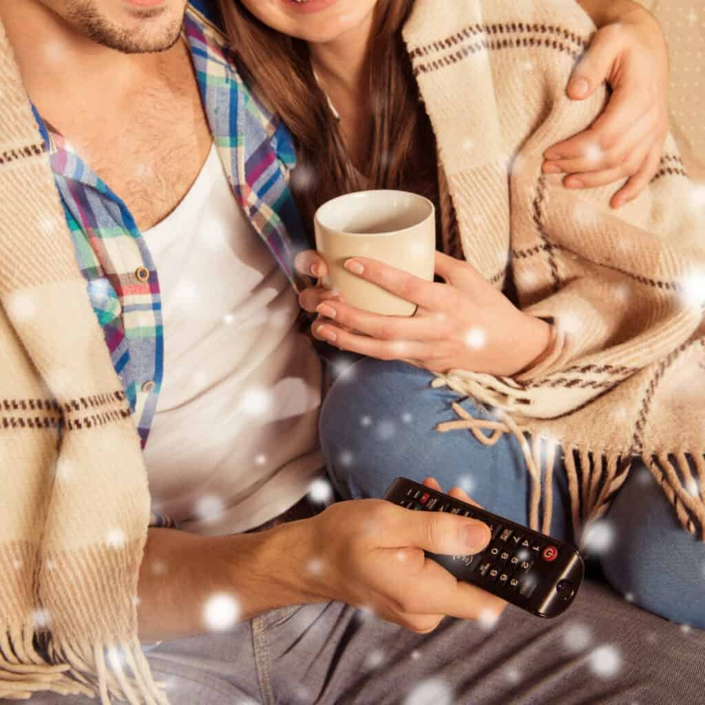 couple watching christmas movies together