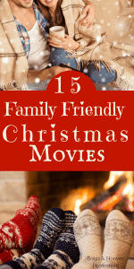 photo collage of couple watching a movie and view of family's feet in foreground and fireplace in background
