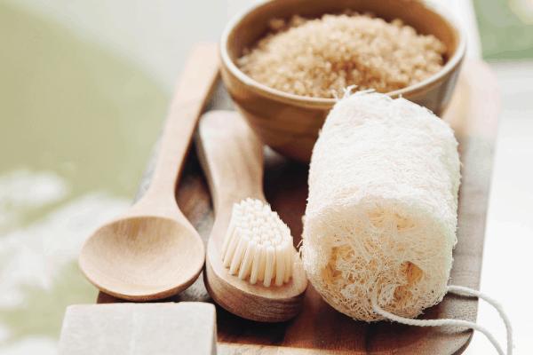 spa bath set with sugar scrub and wooden bath tools