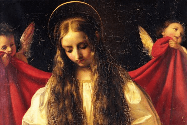 St Philomena with two angels carrying a red cloak