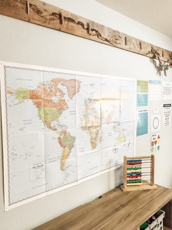 world map and school morning board