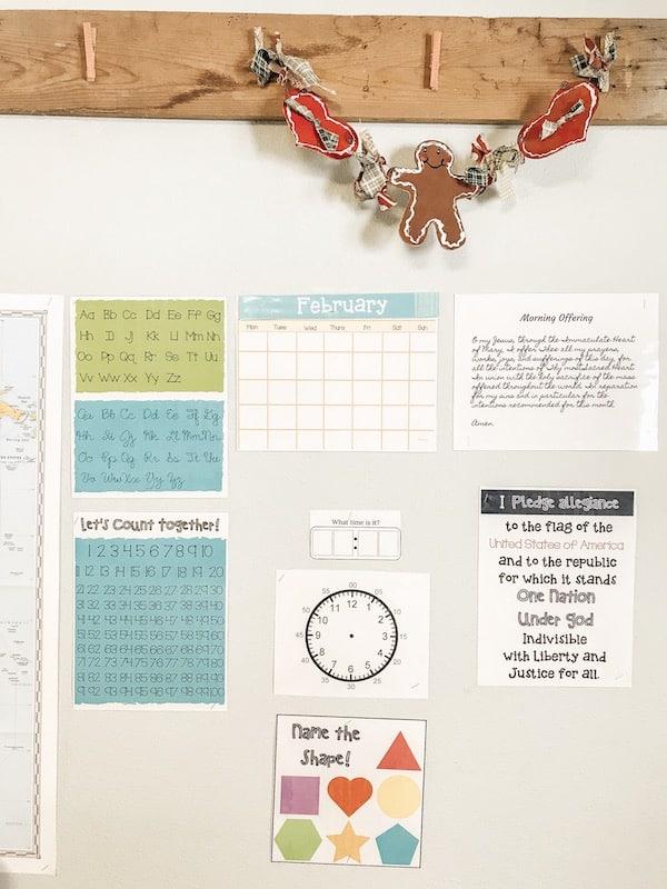 morning board in the homeschool classroom