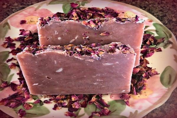 homemade rose soap bar