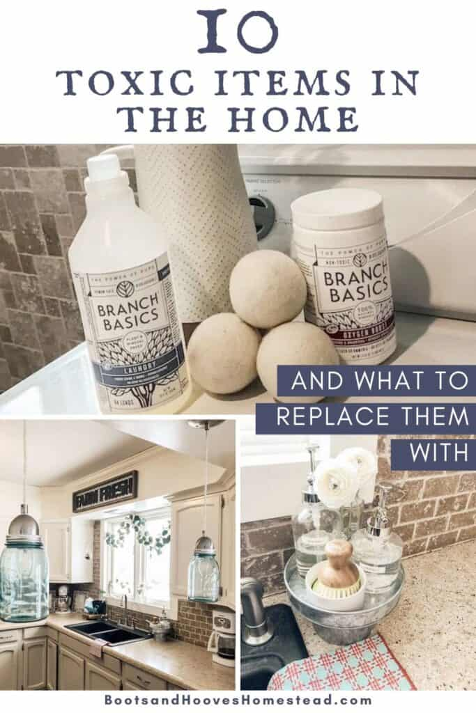 photo collage of natural home products in kitchen and laundry room