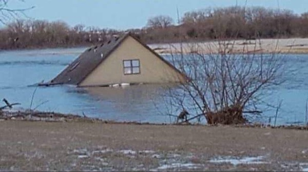 House under flood water