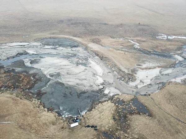 Drone images of the dam break here on the ranch.