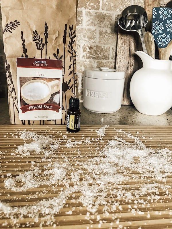 use Epsom Salt on cutting board with lemon essential oils
