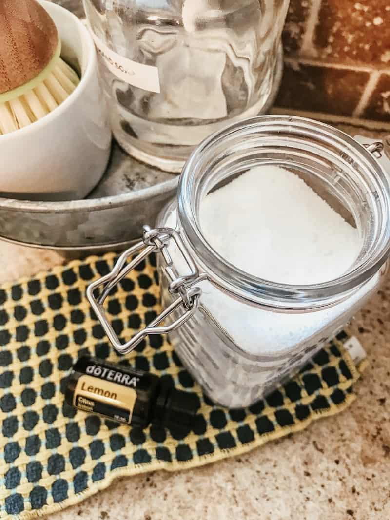 dishwasher detergent in a mason jar