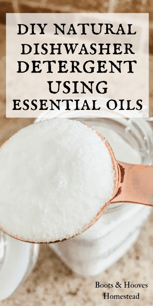 dishwasher detergent powder and a tablespoon measuring