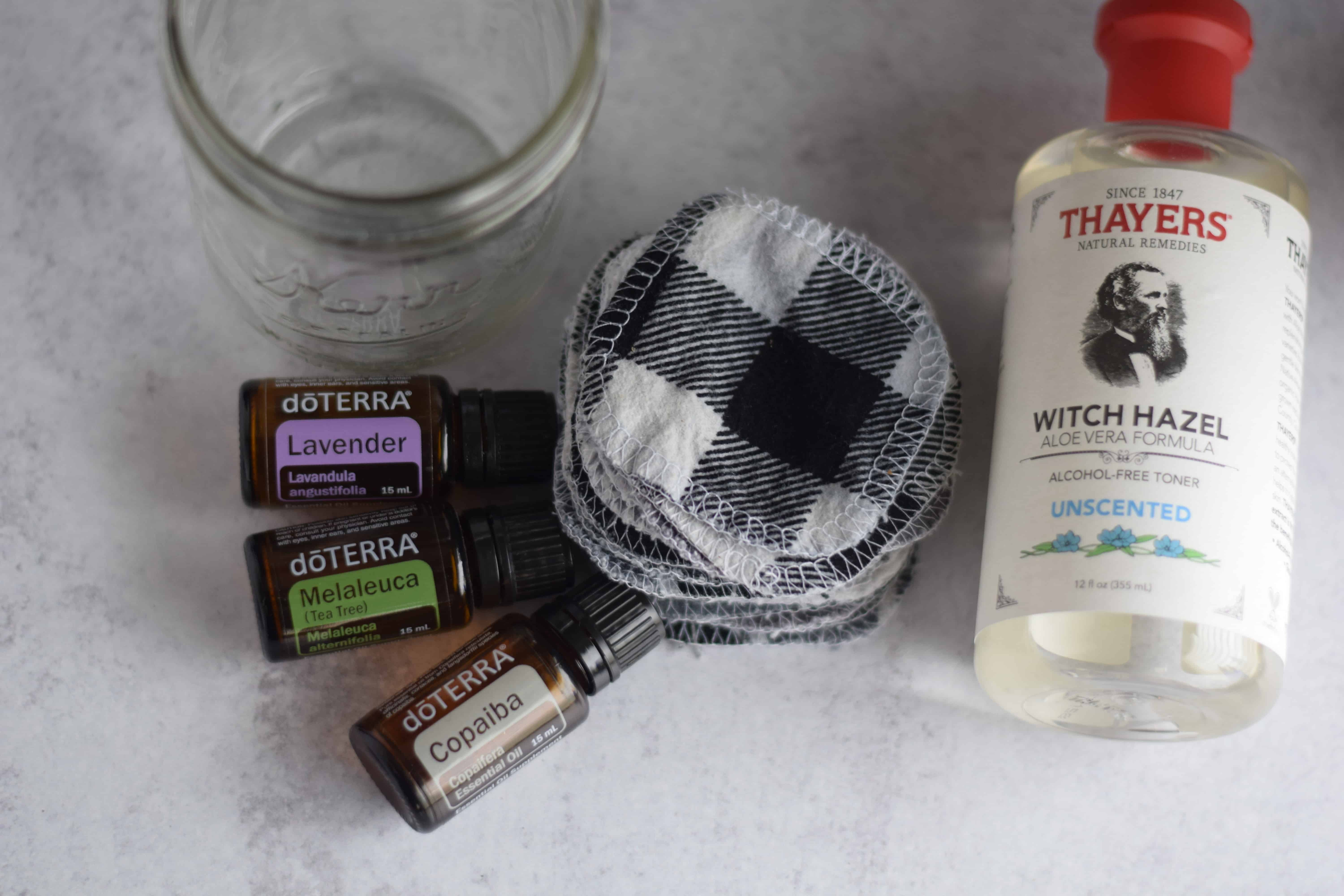 essential oils with witch hazel and face cloths