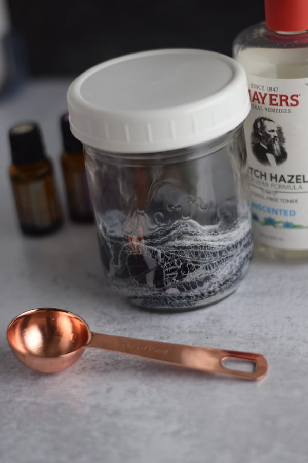 completed natural face toner in a mason jar